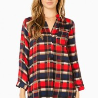 MYLES PLAID BLOUSE IN RED
