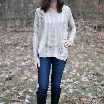 Windows of Warmth Sweater In Taupe