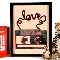 Cassette Tape Love, Art Print, 8 x10 from Stay Gold Media