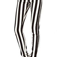 Maykool Women's Black White Vertical Stripe Jean