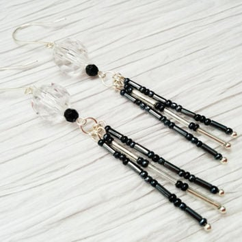 Long Tassel Earrings; Bead Tassel; Black; Silver
