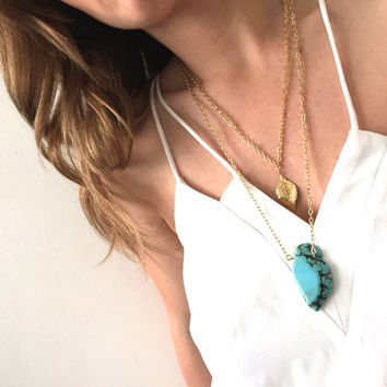 Gone with the Wind: fine gold two tier multi chain dainty charm necklace with chunky Turqiouse gemstone