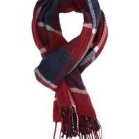 Plaid Fringe Wrap Scarf by Charlotte Russe - Oxblood