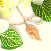 Gold leaf green amethyst fall necklace