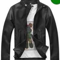 Men Fashion Long Sleeve Zipper Black Leather Fur Coat M/L/XL/XXL @S5-0126-1b $33.73 only in eFexcity.com.