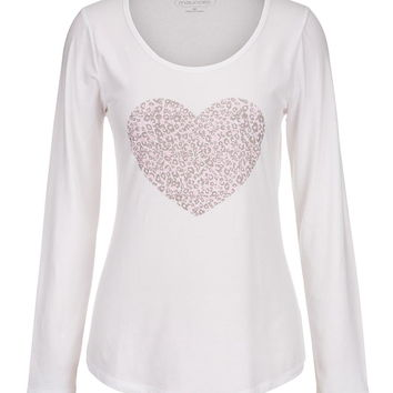 animal print heart long sleeve tee