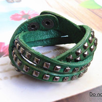 Adjustable Punk Green Leather Rivets Bracelet  mens bracelet cool bracelet jewelry bracelet bangle bracelet  cuff bracelet 1135S