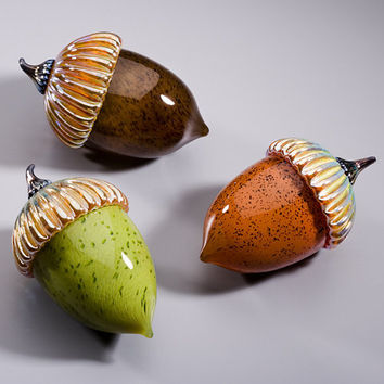Acorn Paperweight by Michael Cohn and Molly Stone: Art Glass Sculpture - Artful Home