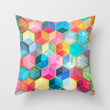 Crystal Bohemian Honeycomb Cubes - colorful hexagon pattern Throw Pillow by Micklyn
