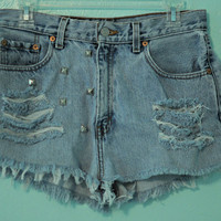 Vintage Levi High Waisted, Destroyed & Studded Jean Shorts