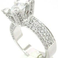Round cut diamond engagement ring art deco 2.00ctw