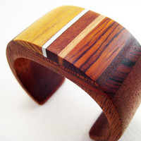 Wood Bracelet, Wrist Cuff, Modern, Unique, Small, Harvest Gold