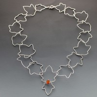 OOAK Sterling and Amber Necklace - Free Falling Leaves HANDMADE