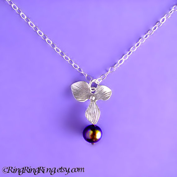 Black Genuine Pearl and White Gold flower on Sterling silver necklace.