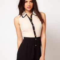 ASOS Playsuit With Contrast Double Collar at asos.com