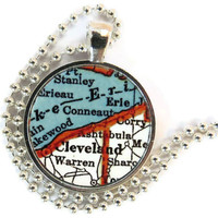 Cleveland, Ohio vintage map pendant charm, map necklace, photo pendant