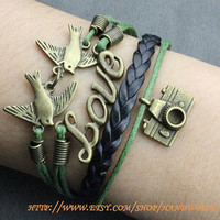 vintage camera bracelet lover birds bracelet bronze love bracelt fashion bracelet -N615