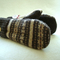 Brown Mittens CHOCOLATE &amp; CAMEL Fair Isle Felted Sweater Wool Cashmere Lined