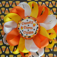 Candy Corn Cutie Halloween loopy flower hair bow