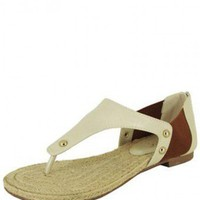 Beige THONG STYLE SANDAL @ KiwiLook fashion