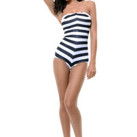Black & White Striped Barbie One Piece Swimsuit - Unique Vintage - Homecoming Dresses, Pinup & Prom Dresses.