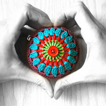 Mandala Coin Purse - Crochet Bag - Green, Red, Turquoise, Violet, Red Button, Pink Base