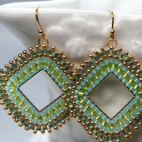 Marrocan Green Diamond Shape seed bead earrings hoops