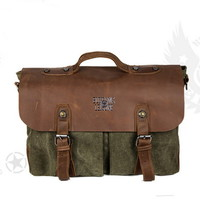 Men's retro messenger bags with leather flap