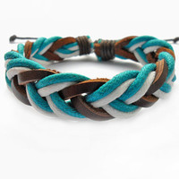 Jeweler bangle leather bracelet women bracelet men bracelet  made of colorful hemp rope and leather woven bracelet cuff  SH-1647