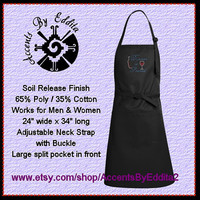 Rhinestone Dinner is Poured Chefs Apron with Sparkly Wine Cup and Wine Bottle Accents