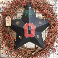 Wreath Ohio State Buckeyes OSU door hanger