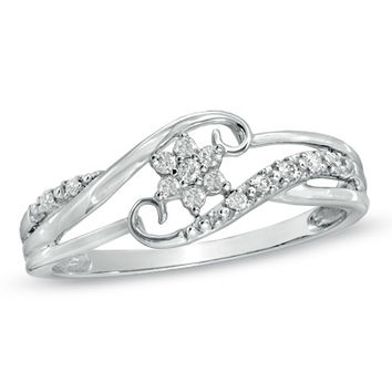 Cherished Promise Collection™ Diamond Accent Snowflake Ring in 10K White Gold
