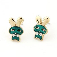 Green Cute Bunny Gemstone Earrings@10113640