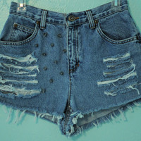 Vintage Levi High Waisted, Destroyed & Spiked Jean Shorts