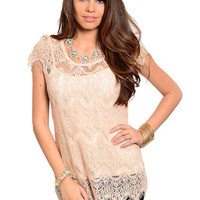 Lace Zip Crochet Blouse