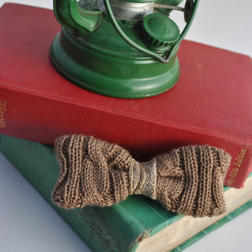 Cable Knit Bow Tie, Holiday Baby Bow Tie, Photo Prop