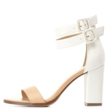 Color Block Chunky Heel Sandals by Charlotte Russe - Natural