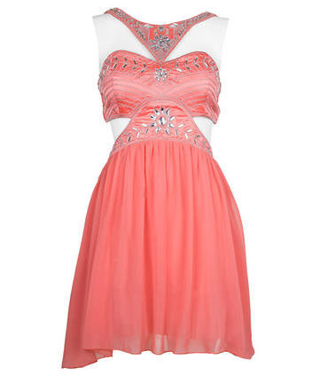 Coral Cut Out Dress With Embellished Detail - Clothing - desireclothing.co.uk