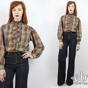 Vintage 70s Brown Plaid Tuxedo Blouse XL Brown Plaid Blouse Longsleeve Blouse Ruffled Blouse Secretary Blouse Work Blouse XL Blouse