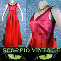 Kay Unger Rose & Red Satin Gown on Scorpio Vintage dot com