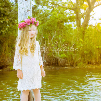 The Chloe - Ivory Crème Flower Girl Lace Dress, Birthday Dress made for girls, toddlers, infants, ages 1T, 2T,3T,4T,5T,6, 7, 8, 9/10, 11/12