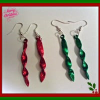 Holiday Red Or Green  Ornament Earings.