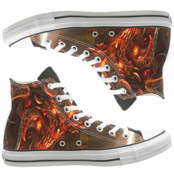 Diablo 3 painted shoes, custom shoes by natalshoes