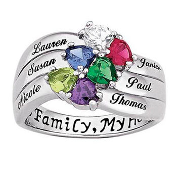 Sterling Silver Heart and Name Family Birthstone Ring (2-6 Names and Stones)