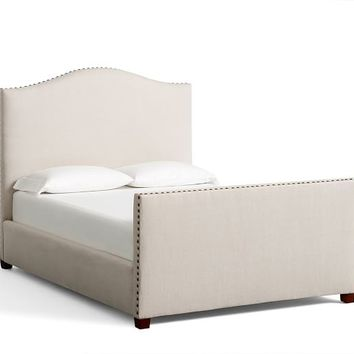 Raleigh Upholstered Camelback Bed with Footboard