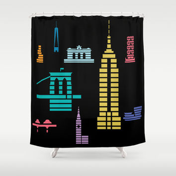 New York Skyline Empire State Poster Black Shower Curtain by Christopher Dina