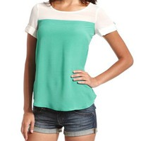 Button Back 2-Tone Tee: Charlotte Russe