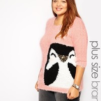 New Look Inspire Pink Penguin Holidays Sweater