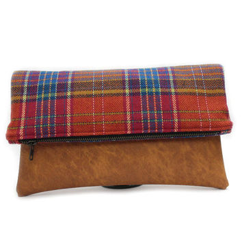 Brown Foldover Purse, Wool Leather Clutch, Plaid Fold Over Clutch, Large Red Fold Over Zip Purse,Brown Foldover Clutch Bag,Vegan Leather Bag