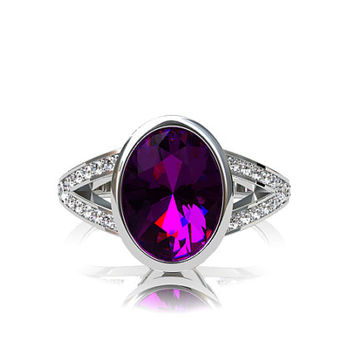 Platinum solitaire ring with Amethyst, engagement ring, oval cut ring, diamond engagement, bezel, solitaire, split shank ring, purple ring